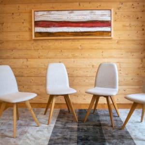 F84 Natur Eiche geölt   Bezug Sitz Loden Stuhl - Set