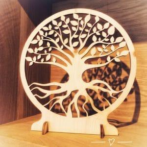 Baum des Lebens Zirbe oder Lebensbaum -Laserarbeit in Nussbaum oder Zirbenholz